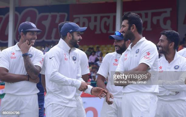 Virat Kohli Captain of India and team players during the day 4 of their fourth test cricket match in Dharmsala