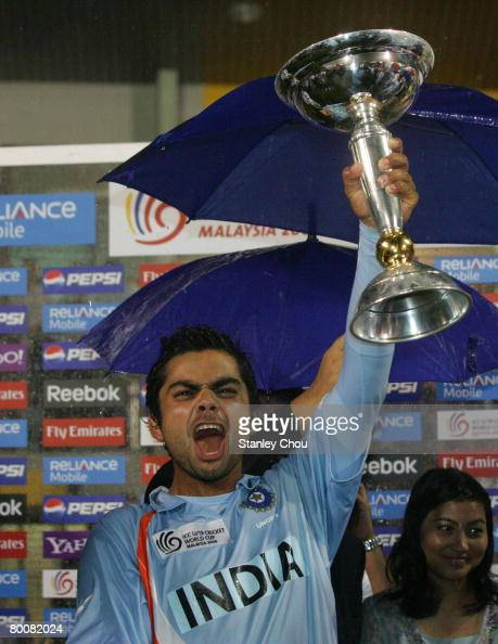 Virat Kohli captain of India lifts aloft the World Cup after india defeated South Africa at the ICC U/19 Cricket World Cup Final match between India...