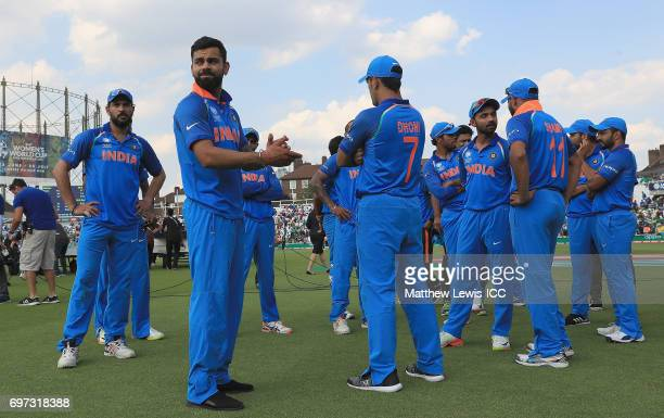 Virat Kohli captain of India looks on after he team lost to Pakistan during the ICC Champions Trophy Final between Pakistan and India at The Kia Oval...