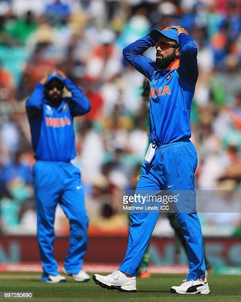 Virat Kohli captain of India looks on during the ICC Champions Trophy Final between Pakistan and India at The Kia Oval on June 18 2017 in London...