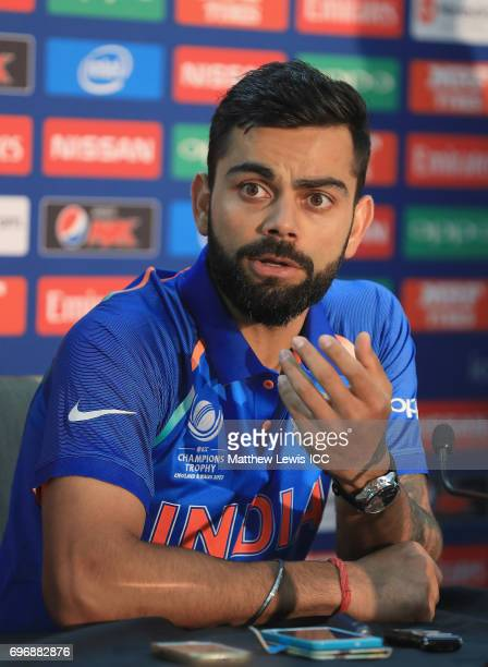 Virat Kohli Captain of India talks to media ahead of the ICC Champions Trophy Final between Pakistan and India at The Kia Oval on June 17 2017 in...