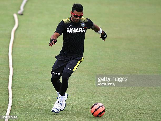 Virat Kohli during the Inidian national cricket team training session and press conference at Sahara Stadium Kingsmead on December 24 2013 in Durban...