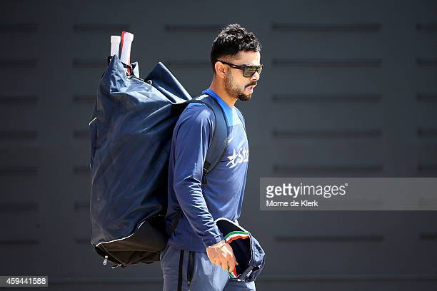 Virat Kohli looks on during a training session for the Indian cricket team at Gliderol Stadium on November 23 2014 in Adelaide Australia