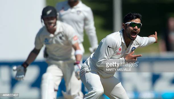 Virat Kohli of India appeals for a LBW call on Brendon McCullum captain of New Zealand during day 4 of the 2nd International Test cricket match...