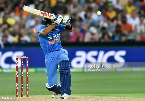 Virat Kohli of India bats during game one of the Twenty20 International match between Australia and India at Adelaide Oval on January 26 2016 in...