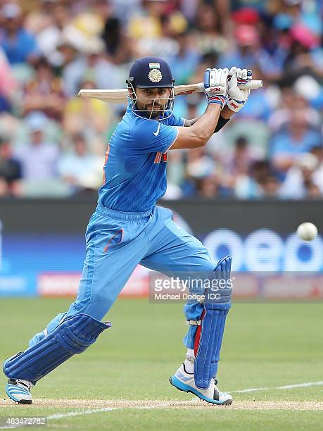 Virat Kohli of India bats during the 2015 ICC Cricket World Cup match between India and Pakistan at Adelaide Oval on February 15 2015 in Adelaide...
