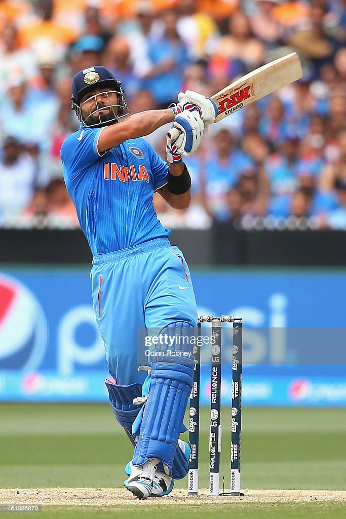 <a gi-track='captionPersonalityLinkClicked' href=/galleries/search?phrase=Virat+Kohli&family=editorial&specificpeople=4880246 ng-click='$event.stopPropagation()'>Virat Kohli</a> of India bats during the 2015 ICC Cricket World Cup match between South Africa and India at Melbourne Cricket Ground on February 22, 2015 in Melbourne, Australia.