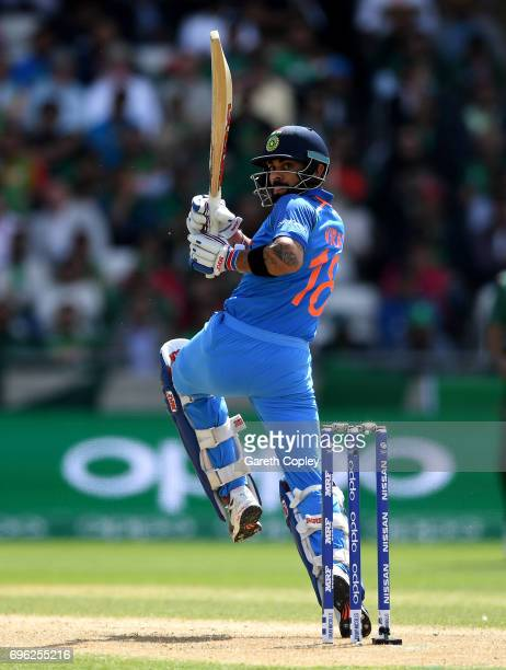 Virat Kohli of India bats during the ICC Champions Trophy Semi Final between Bangladesh and India at Edgbaston on June 15 2017 in Birmingham England
