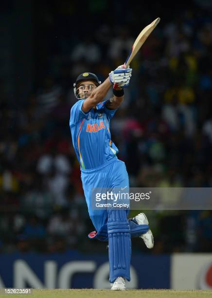 Virat Kohli of India bats during the ICC World Twenty20 2012 Group A match between England and India at R Premadasa Stadium on September 23 2012 in...
