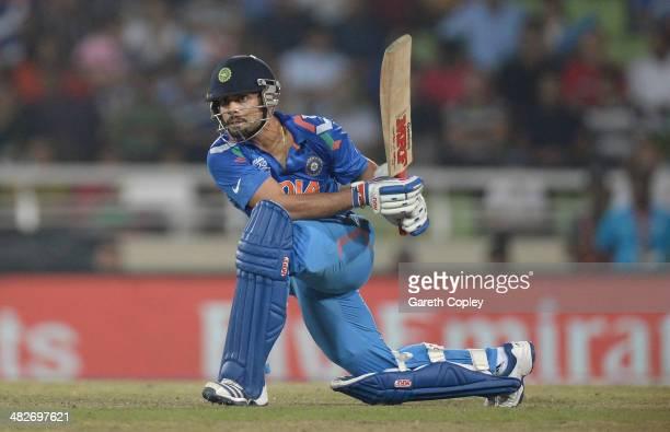 Virat Kohli of India bats during the ICC World Twenty20 Bangladesh 2014 semi final between India and South Africa at ShereBangla Mirpur Stadium on...