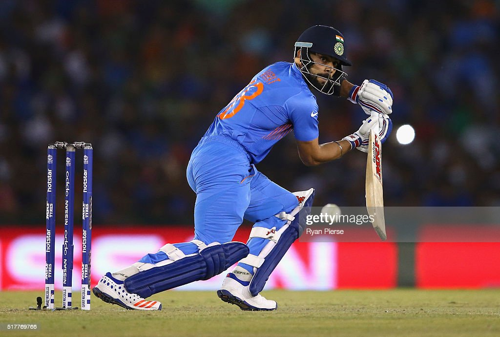 <a gi-track='captionPersonalityLinkClicked' href=/galleries/search?phrase=Virat+Kohli&family=editorial&specificpeople=4880246 ng-click='$event.stopPropagation()'>Virat Kohli</a> of India bats during the ICC WT20 India Group 2 match between India and Australia at I.S. Bindra Stadium on March 27, 2016 in Mohali, India.