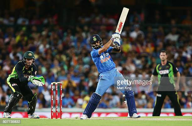 Virat Kohli of India bats during the International Twenty20 match between Australia and India at Sydney Cricket Ground on January 31 2016 in Sydney...