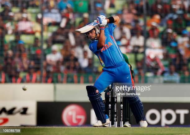 Virat Kohli of India bats during the opening game of the ICC Cricket World Cup between Bangladesh and India at the ShereeBangla National Stadium on...