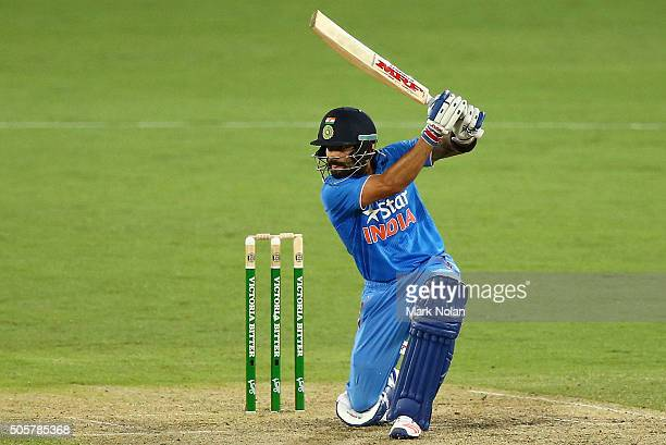 Virat Kohli of India bats during the Victoria Bitter One Day International match between Australia and India at Manuka Oval on January 20 2016 in...