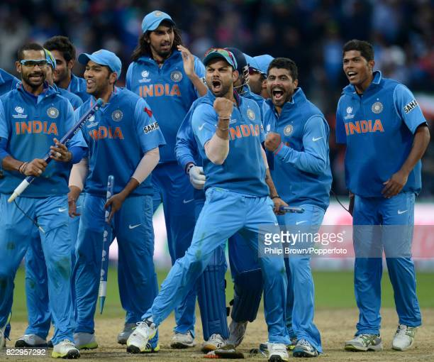 Virat Kohli of India celebrates after his team won the ICC Champions Trophy Final between England and India by 5 runs at Edgbaston Birmingham 23rd...
