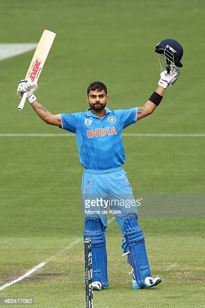 Virat Kohli of India celebrates after reaching 100 runs during the 2015 ICC Cricket World Cup match between India and Pakistan at Adelaide Oval on...