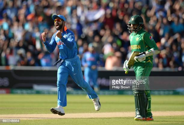 Virat Kohli of India celebrates after the dismissal of Azhar Ali of Pakistan during the ICC Champions Trophy match between India and Pakistan at...