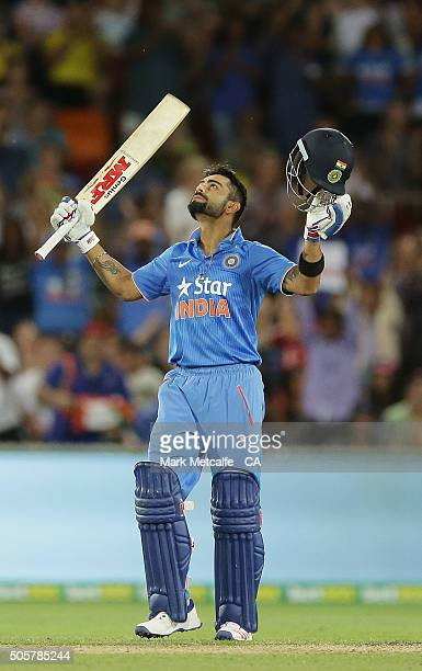 Virat Kohli of India celebrates and acknowledges the crowd after scoring a century during the Victoria Bitter One Day International match between...