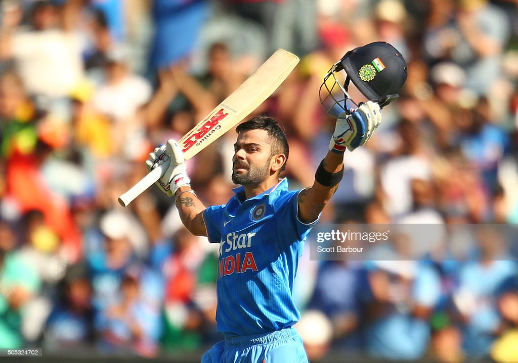 <a gi-track='captionPersonalityLinkClicked' href=/galleries/search?phrase=Virat+Kohli&family=editorial&specificpeople=4880246 ng-click='$event.stopPropagation()'>Virat Kohli</a> of India celebrates as he reaches his century during game three of the One Day International Series between Australia and India at the Melbourne Cricket Ground on January 17, 2016 in Melbourne, Australia.
