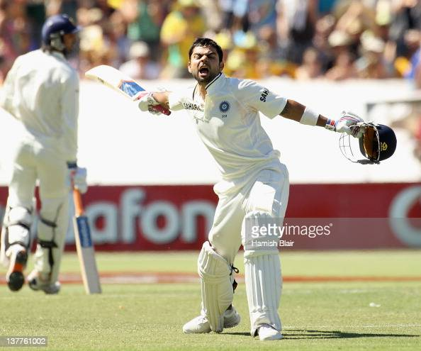 Virat Kohli of India celebrates his century during day three of the Fourth Test Match between Australia and India at Adelaide Oval on January 26 2012...