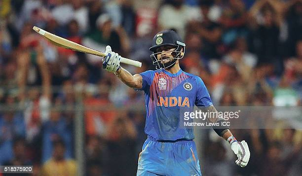 Virat Kohli of India celebrates his half century during the ICC World Twenty20 India 2016 SemiFinal match between West Indies and India at the...