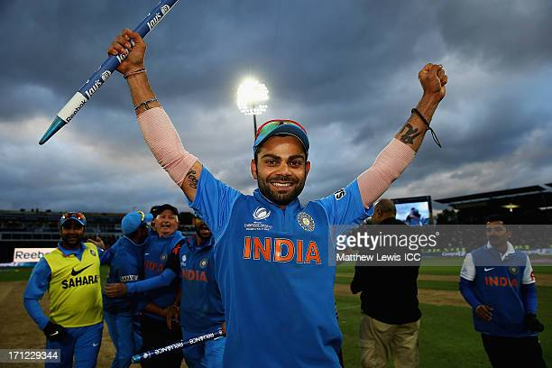 Virat Kohli of India celebrates his teams win over England during the ICC Champions Trophy Final between England and India at Edgbaston on June 23...