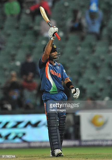 Virat Kohli of India celebrates reaching his 50 during The ICC Champions Trophy Group A Match between India and West Indies at Wanderers Stadium on...
