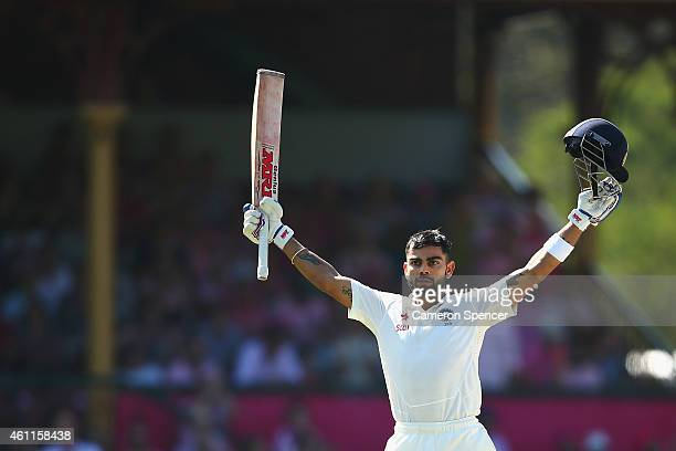 Virat Kohli of India celebrates scoring a century during day three of the Fourth Test match between Australia and India at Sydney Cricket Ground on...