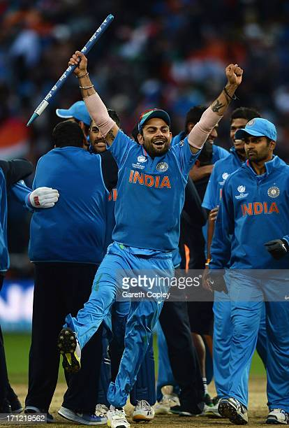 Virat Kohli of India celebrates victory during the ICC Champions Trophy Final between England and India at Edgbaston on June 23 2013 in Birmingham...