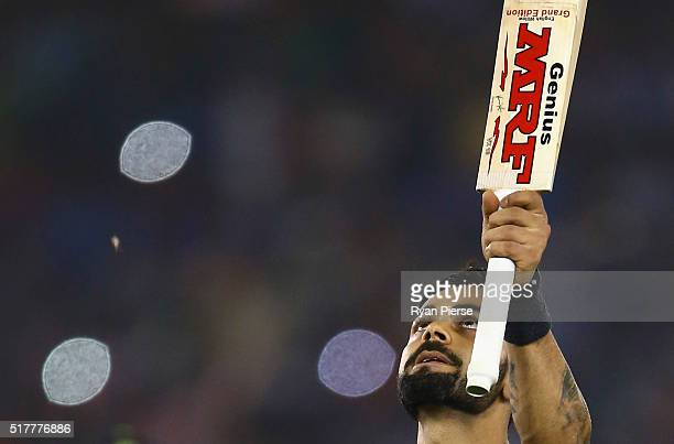 Virat Kohli of India celebrates victory during the ICC WT20 India Group 2 match between India and Australia at IS Bindra Stadium on March 27 2016 in...