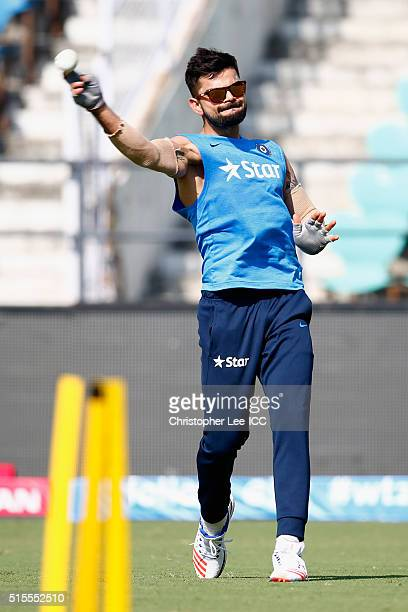 Virat Kohli of India fielding during the India Training and Press Conference at the Vidarbha Cricket Association Stadium on March 14 2016 in Nagpur...