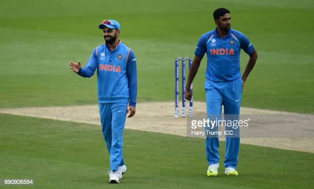 Virat Kohli of India gives orders during the ICC Champions Trophy Warmup match between India and Bangladesh at the Kia Oval on May 30 2017 in London...
