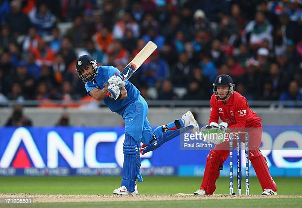 Virat Kohli of India hits out during the ICC Champions Trophy Final match between England and India at Edgbaston on June 23 2013 in Birmingham England