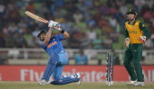 Virat Kohli of India hits out for six runs during the ICC World Twenty20 Bangladesh 2014 semi final between India and South Africa at ShereBangla...
