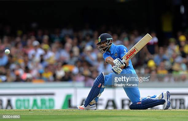 Virat Kohli of India hits the ball to the boundary for a four during game two of the Victoria Bitter One Day International Series between Australia...