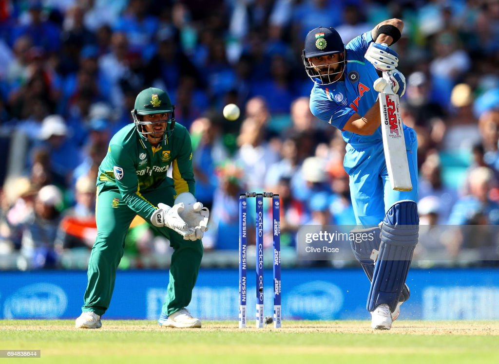 Virat Kohli of India in action during the ICC Champions trophy cricket match between India and South Africa at The Oval in London on June 11, 2017