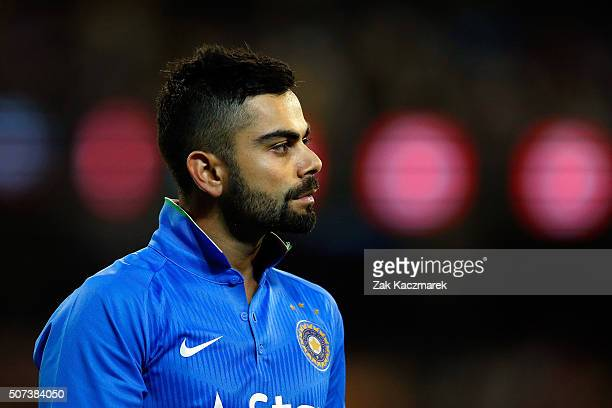 Virat Kohli of India in action during the International Twenty20 match between Australia and India at Melbourne Cricket Ground on January 29 2016 in...