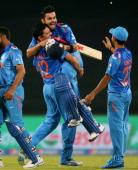 Virat Kohli of India is hugged by Yuvraj Singh after he hit the winning runs as India won the ICC World Twenty20 Bangladesh 2014 2nd SemiFinal match...