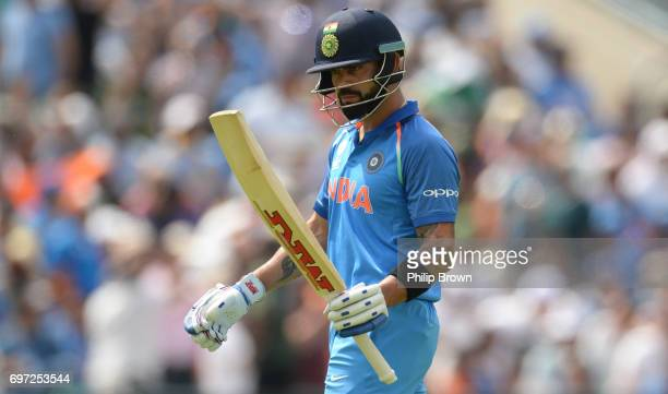 Virat Kohli of India leaves the field after being dismissed during the ICC Champions Trophy final match between India and Pakistan at the Kia Oval...