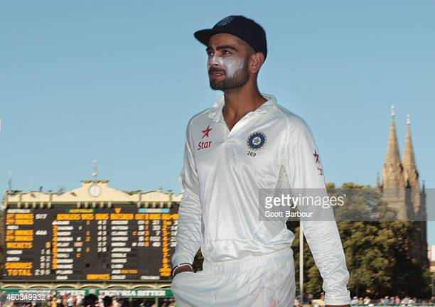 Virat Kohli of India leaves the field at the end of day four of the First Test match between Australia and India at the Adelaide Oval on December 12...