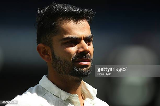 Virat Kohli of India leaves the field during day five of the Third Test match between Australia and India at Melbourne Cricket Ground on December 30...