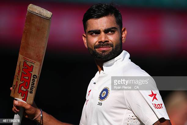 Virat Kohli of India leaves the ground at stumps during day three of the Fourth Test match between Australia and India at Sydney Cricket Ground on...