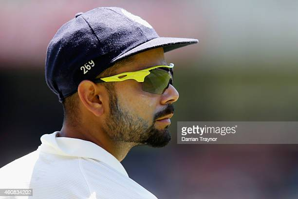 Virat Kohli of India look on during day one of the Third Test match between Australia and India at Melbourne Cricket Ground on December 26 2014 in...