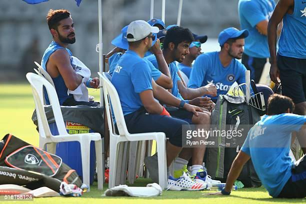 Virat Kohli of India looka on during an India training session at Wankhede Stadium on March 30 2016 in Mumbai India