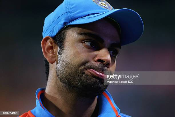 Virat Kohli of India looks on after his team are knocked out of the Super Eights during the ICC World Twenty20 2012 Super Eights Group 2 match...
