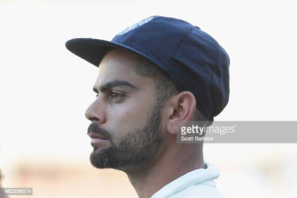 Virat Kohli of India looks on after India lost the match during day five of the First Test match between Australia and India at the Adelaide Oval on...