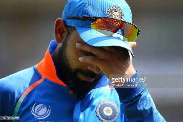 Virat Kohli of India looks on dejected during the ICC Champions Trophy Final match between India and Pakistan at The Kia Oval on June 18 2017 in...