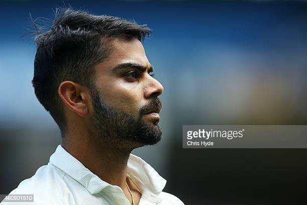 Virat Kohli of India looks on during day five of the Third Test match between Australia and India at Melbourne Cricket Ground on December 30 2014 in...