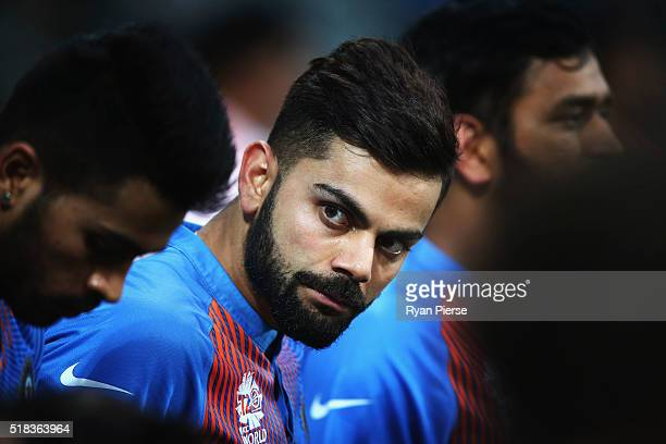 Virat Kohli of India looks on during the ICC World Twenty20 India 2016 Semi Final match between West Indies and India at Wankhede Stadium on March 31...