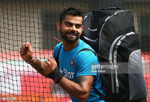 Virat Kohli of India looks on during the India nets session at Sydney Cricket Ground on March 25 2015 in Sydney Australia